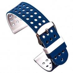 Curea silicon cu doua fete compatibila Huawei Watch GT, 22mm, Alb/Albastru