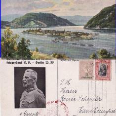 Insula Ada Kaleh  - militara WWI, WK1, Circulata, Printata