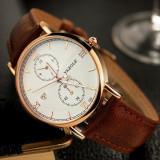 Ceasuri business pentru barbati, design retro, cu bratara din piele, ceas de mana analog cu Quartz, barbatesc