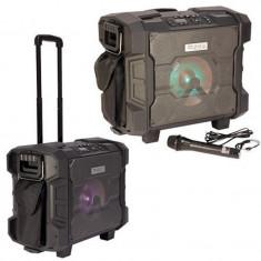 Boxa portabila IPX4 tip troler, 20 cm, 300 W, microfon, tuner FM