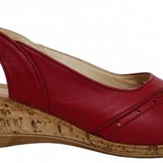 Sandale dama cu talpa ortopedica joasa Ninna Art 2 rosu