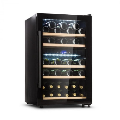 Klarstein Barossa 40D, frigider de vinuri, 2 zone, 135 l, 41 sticle, ușă de sticlă, tactil foto