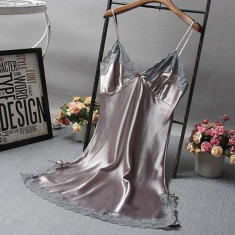 Rochita de noapte/pijama sexy din satin, pentru dama-GRI,XL