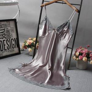 Rochita de noapte/pijama sexy din satin, pentru dama-GRI,M