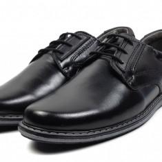 Pantofi Casual Barbati din piele negri VIC2211N, 40 - 44, Negru