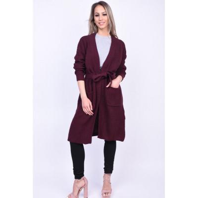 Cardigan Elegant Vero Moda Sayla Belted Visiniu foto