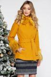 Palton LaDonna mustariu elegant scurt cu croi larg din lana captusit pe interior accesorizat cu cordon, Mustar