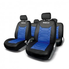 Huse Scaune Auto Mitsubishi Space Wagon Sparco Sport Albastru Negru 11 Buc