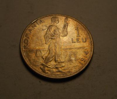 1 leu 1914 Eroare de Batere Surplus de Material Piesa de Colectie foto