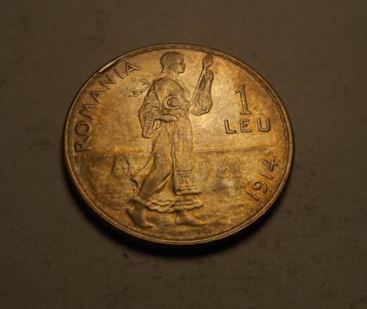 1 leu 1914 Eroare de Batere Surplus de Material Piesa de Colectie