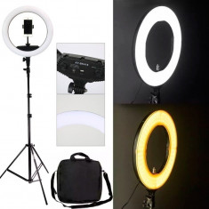 Lampa Circulara 45cm Bicolora Led fashion cosmetica make-up studio foto selfie