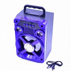 Boxa Portabila Bluetooth 502 AUX, USB, ALBASTRU Lumini disco