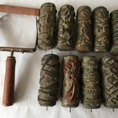 Lot 9 bucati rol de zugravit cu model + furca, vechi, vintage ,15 cm lungime (I)