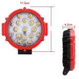 Proiector LED Auto Offroad 51W/12V-24V, 3740 Lumeni, Rosu, Spot Beam 30 Grade, Universal
