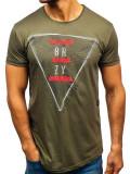 T-shirt pentru bărbat cu imprimeu verde Bolf 181165-A