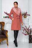 Palton Moze roz cu buzunare si blanita detasabila la guler