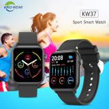 Smartwatch KW37 PRO KINGWEAR ceas 5 2020 presiune monitorizare ritm cardiac OLED, Otel inoxidabil, Negru, Android Wear