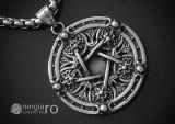 Medalion Pandantiv Pentagrama Pentaclu INOX - cod PND215
