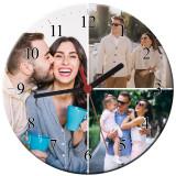 Cumpara ieftin Ceas personalizat din sticla, model cu 3 poze, diametru 20 cm