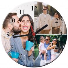 Ceas personalizat din sticla, model cu 3 poze, diametru 20 cm