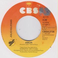 "Julio Iglesias - Amor (1982, CBS) Disc vinil single 7"""