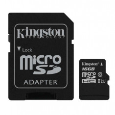 Card memorie Kingston microSDHC 16 GB clasa 10 + adaptor