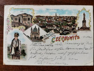 1897 Cernauti Czernowitz Litografie clasica circulata timbru intact - Leon Konig foto
