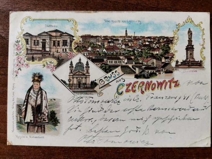 1897 Cernauti Czernowitz Litografie clasica circulata timbru intact - Leon Konig