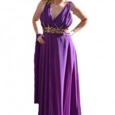Rochie de gala frumoasa, pe nuanta de mov, cu insertii de margele