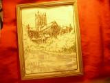 Tablou cu Goblen vechi Catedrala Wells Anglia - Dim.= 27x22cm