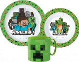 Set mic dejun, Minecraft Creeper, 3 piese, pentru microunde, ORIGINAL