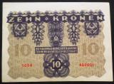Bancnota ISTORICA 10 COROANE - AUSTRO-UNGARIA (AUSTRIA), anul 1922   *cod 867 D