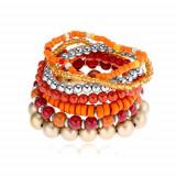 Brăţară elastică, mărgele în diverse forme, roşii, portocalii, aurii