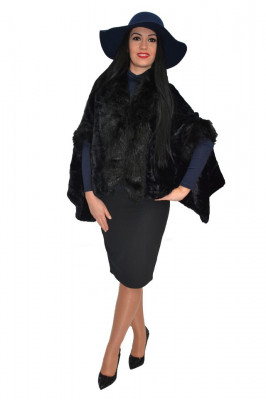Jacheta tip poncho,culoare negru foto