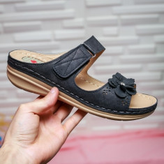 Papuci Leonda negri cu talpa ortopedica -rl