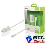 Incarcator auto 2.4 A Apple Lightning alb, Sweex