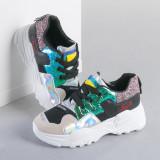 Pantofi sport dama Soni negri cu verde
