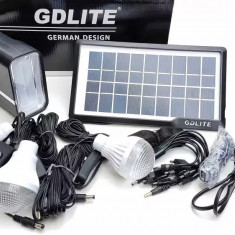 Cumpara ieftin Panou solar kit fotovoltaic 3 becuri, lampa LED, USB incarcare telefon GDLITE 1