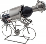 Cumpara ieftin Suport pentru Sticla Vin, model Biciclist, Metal Lucios, Capacitate 1 Sticla, H 24.5 cm