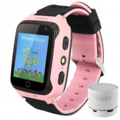 Ceas GPS Copii iUni Kid530, Touchscreen, Telefon incorporat, Bluetooth, Camera 1.3MP, Lanterna, Buton SOS, Roz + Boxa Cadou