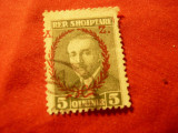 Timbru Albania 1927 Pres. Ahmed Zogu ,val. 5q stampilat