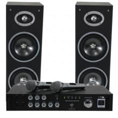 Set karaoke BST, amplificator USB, 2 microfoane, 2 boxe, negru