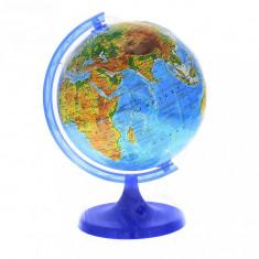 Glob pamantesc 25 cm, harta fizica, arc meridian gradat, rotativ, suport birou foto