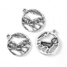 Pandantiv Amuleta Talisman viking lup urland pe frunze