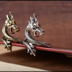 Inel DRAGON argint tibetan lucrat manual -argintiu- stil oriental unisex