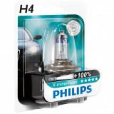 Cumpara ieftin Set 2x Bec auto H4 Halagen Philips X-treme Vision +100 12V 55W LIvrare gratuita!, Becuri auto H4