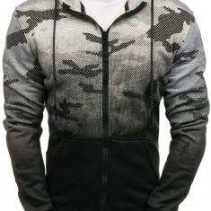 Bluză pentru bărbat cu glugă și fermoar camuflaj-gri Bolf DD130