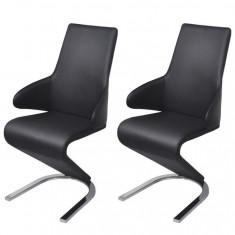 Scaune de sufragerie cantilever piele artificială neagră 2 buc.