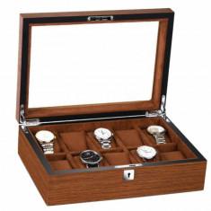 Cutie caseta din lemn pentru depozitare si organizare 10 ceasuri, model Pufo...