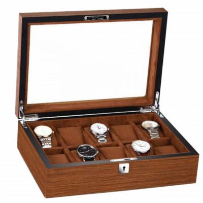 Cutie caseta din lemn pentru depozitare si organizare 10 ceasuri, model Pufo Elite Edition cu cheita, maro foto